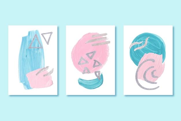 Aquarel dekt pak met verschillende vormen