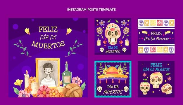 Aquarel dia de muertos instagram posts collectie