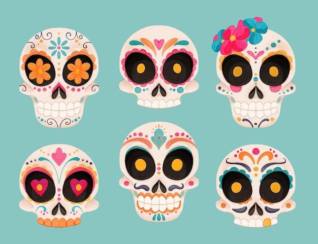 Aquarel dia de muertos schedels collectie