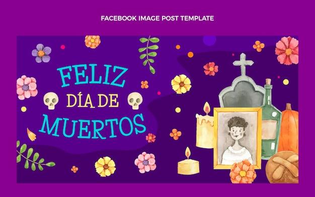 Aquarel dia de muertos social media postsjabloon
