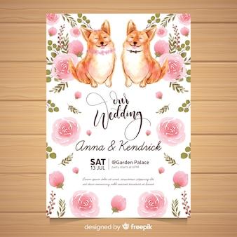 Aquarel dier bruiloft uitnodiging sjabloon