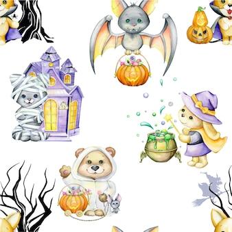 Aquarel dieren, in kostuums, voor de halloween-vakantie, op een geïsoleerde achtergrond. naadloos patroon