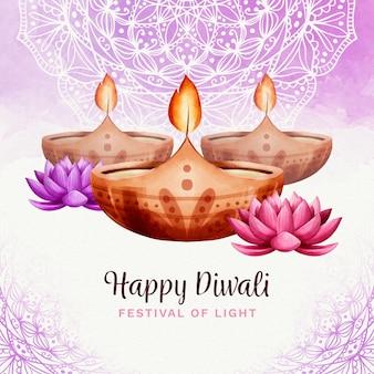 Aquarel diyas diwali-evenement