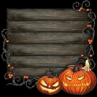 Aquarel donker halloween-bord met gesneden pompoenen en oranje bessen