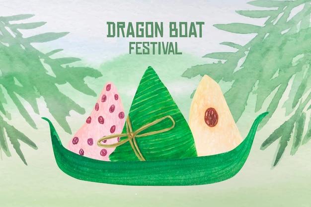 Aquarel drakenboot op een boot