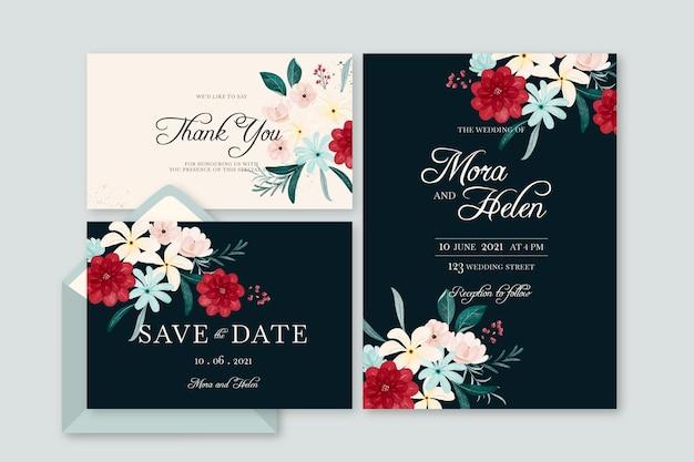 Aquarel dramatische botanische bruiloft briefpapier set