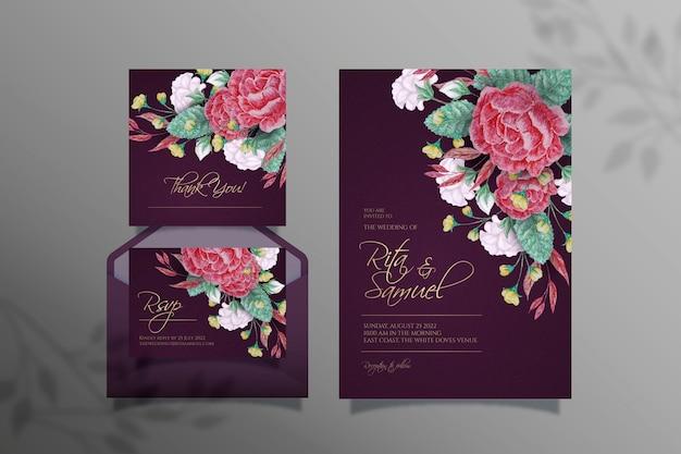 Aquarel dramatische bruiloft briefpapier ontwerp