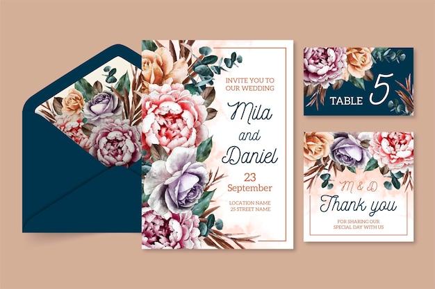 Aquarel dramatische bruiloft briefpapier