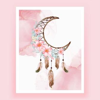 Aquarel dromenvanger bloem roze perzik veer