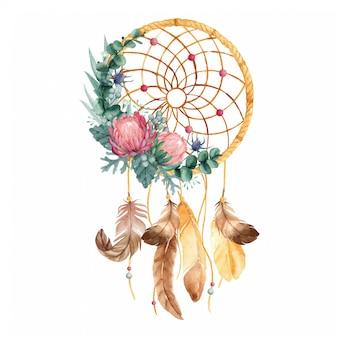 Aquarel dromenvanger met bloemen