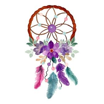 Aquarel dromenvanger met paarse bloemen