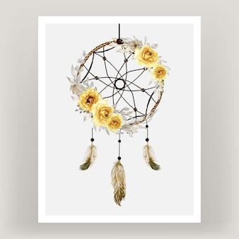 Aquarel dromenvanger roze gele bloem veer
