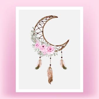 Aquarel dromenvanger roze roze bloem feathe