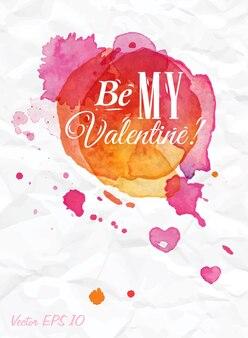 Aquarel druppels zijn mijn valentijn