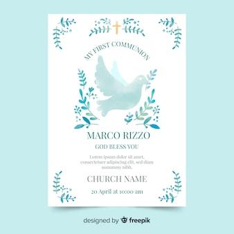 Aquarel duif eerste communie uitnodiging