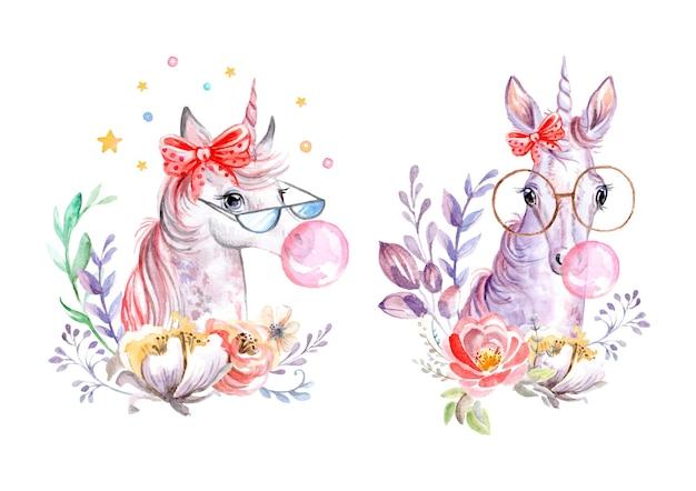 Aquarel eenhoorns met bloemen