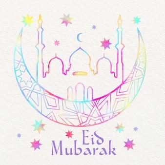 Aquarel eid mubarak met maan en moskee