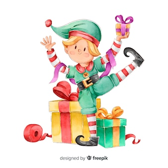 Aquarel elf kerst tekens collectie