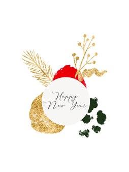 Aquarel en gouden abstracte nieuwjaarscollage voor uitnodigingskaart groet flyer cover banner