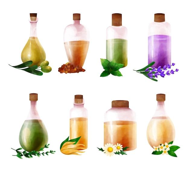 Aquarel etherische olie fles collectie