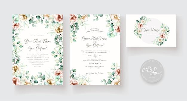 Aquarel eucalyptus bruiloft uitnodiging kaartenset