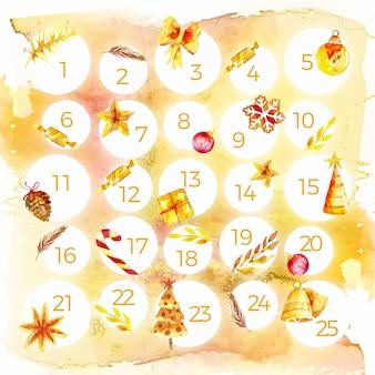 Aquarel feestelijke adventskalender