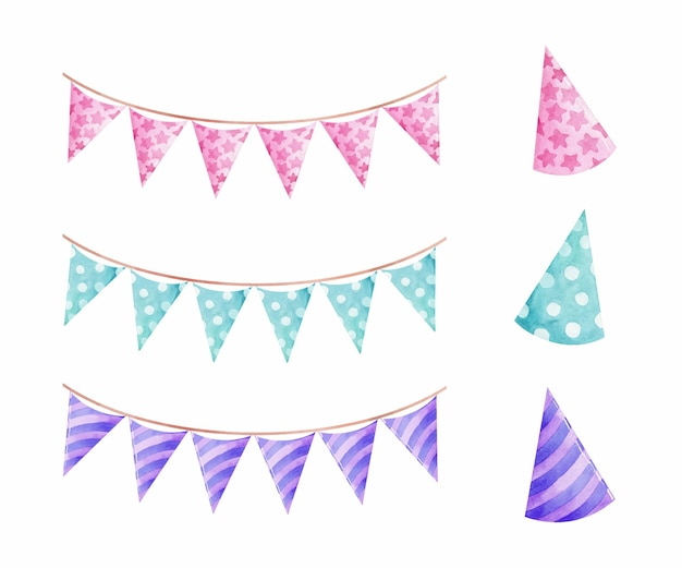 Aquarel feestmutsen en vlaggen garland pastelkleur geïsoleerd
