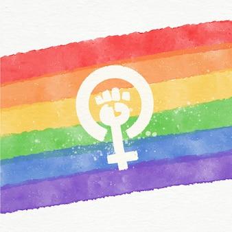 Aquarel feministische lgbt vlag illustratie