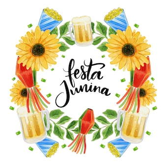 Aquarel festa junina concept