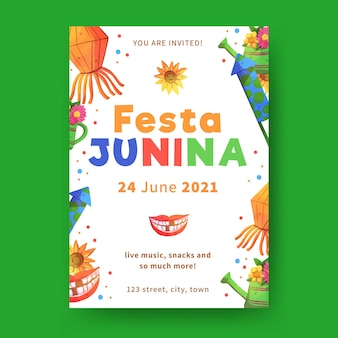 Aquarel festa junina flyer-sjabloon