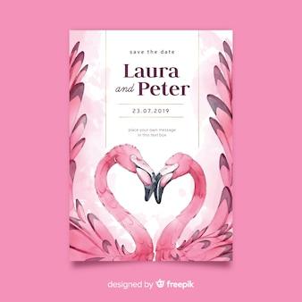 Aquarel flamingo's bruiloft uitnodiging sjabloon