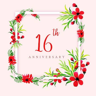 Aquarel floral happy anniversary frame achtergrond