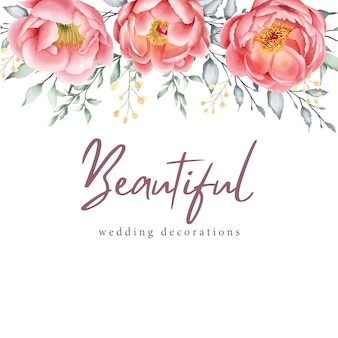 Aquarel floral wenskaart en uitnodiging sjabloon
