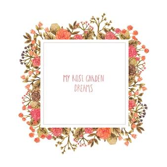 Aquarel frame met bloemen in een romantische stijl.