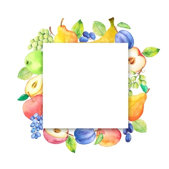 Aquarel frame met fruit