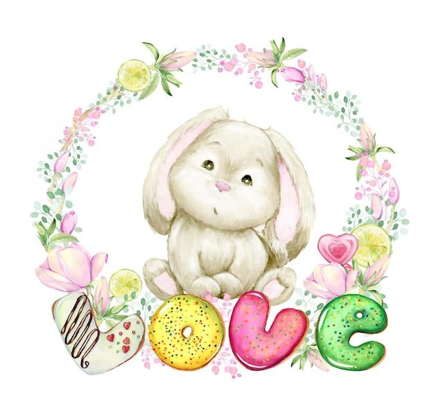 Aquarel frame met magnolia bloemen, donuts, snoep. het konijn zit in het frame. valentijnsdag.