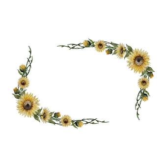 Aquarel frame met zonnebloemen