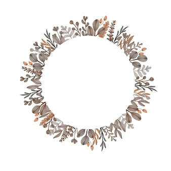 Aquarel frame van bruine bloem en bladeren