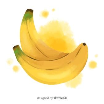 Aquarel fruit achtergrond met bananen