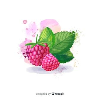 Aquarel fruit achtergrond met frambozen