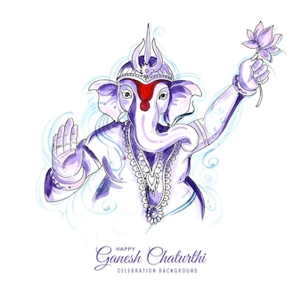 Aquarel ganesh chaturthi kaart concept achtergrond