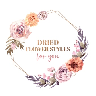 Aquarel gedroogde bloemen krans frame