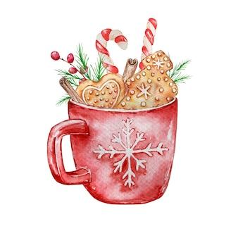 Aquarel geïsoleerde illustratie van kerst warme drank met koekjes en snoep