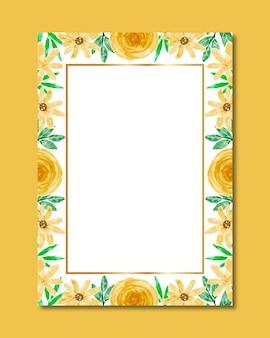 Aquarel gele bloem frame achtergrond
