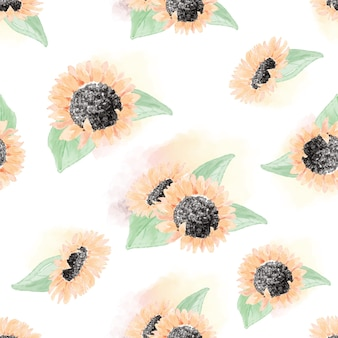 Aquarel gele zonnebloem naadloze patroon