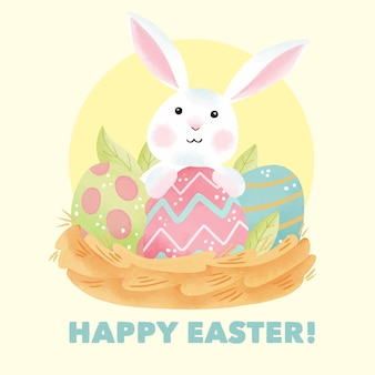 Aquarel gelukkige paasdag met schattige konijnen en eieren