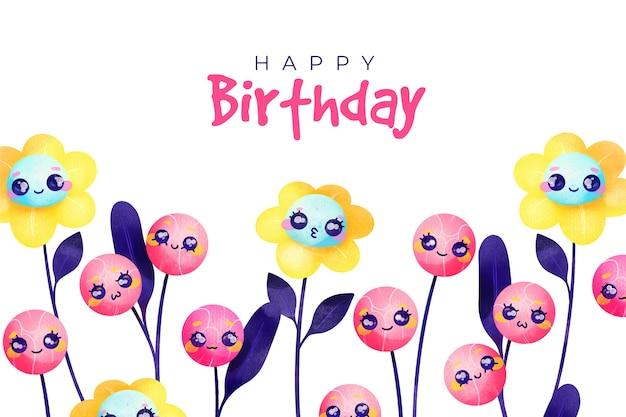 Aquarel gelukkige verjaardag achtergrond en bloemen met gezichten