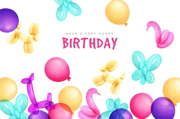 Aquarel gelukkige verjaardag achtergrond en dierlijke ballonnen