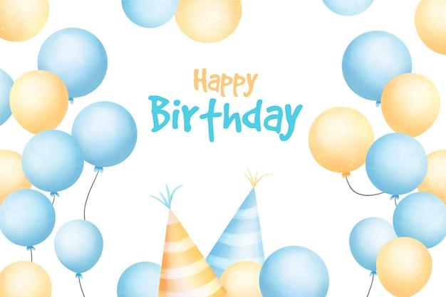 Aquarel gelukkige verjaardag achtergrond en feestmutsen