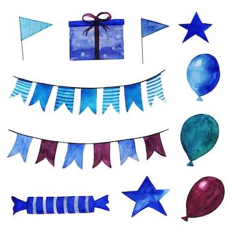 Aquarel gelukkige verjaardag elementen collectie